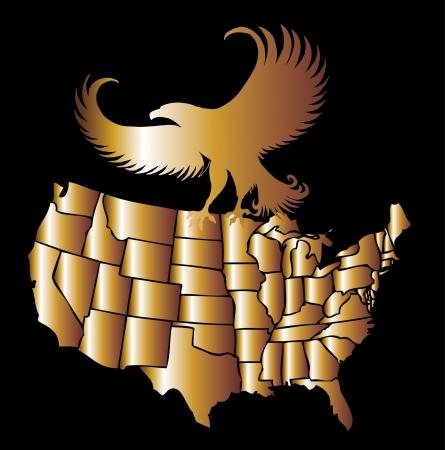 american golden map and eagle eps8 vector art Фото со стока - 22601450