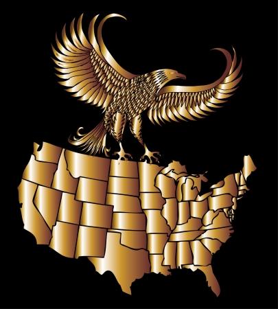 american golden map and eagle eps8 vector art Фото со стока - 22601454