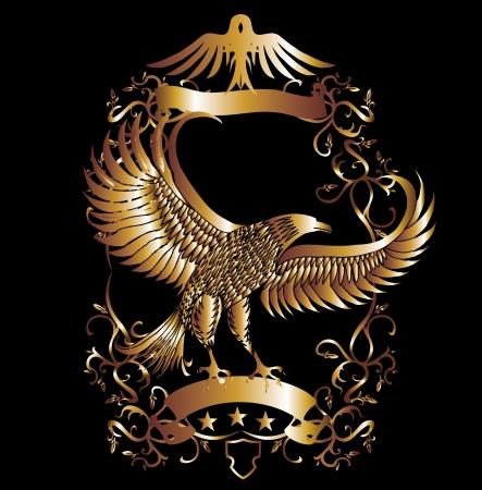 gold eagle shield vector art Illustration