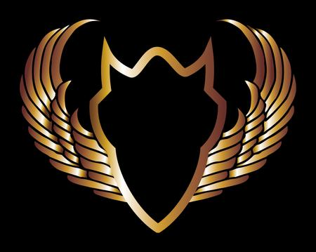 metalic gold wings and shield vector art Vector