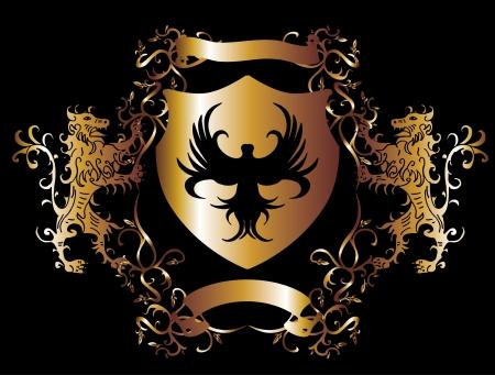 aigle royal: cadre dor� lion et l'aigle vecteur art