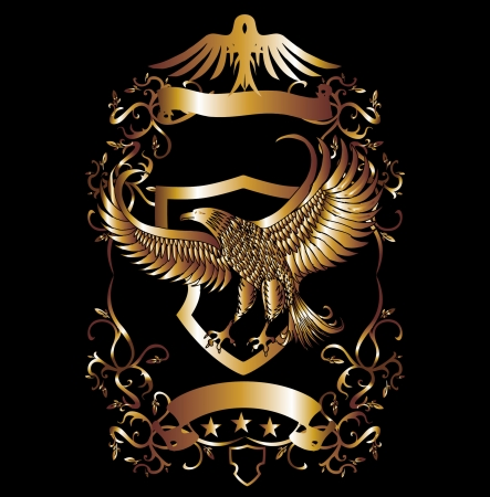 gold eagle shield vector art 向量圖像