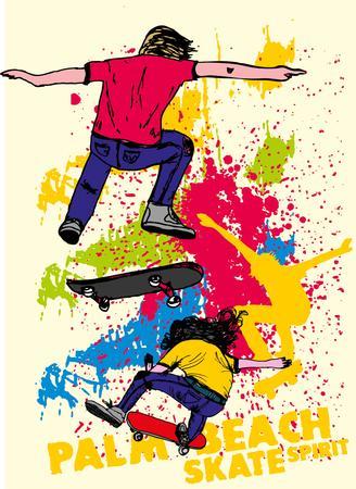urban skate spirit vector art