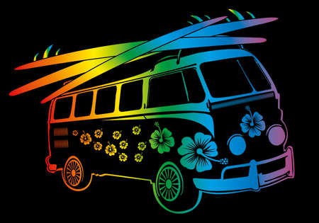 seventies: palm beach van vector art