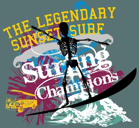 palm beach skull surfer vector art Stock Vector - 22719307