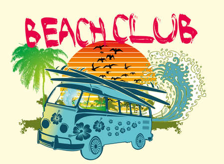 palm beach van vector art Vector