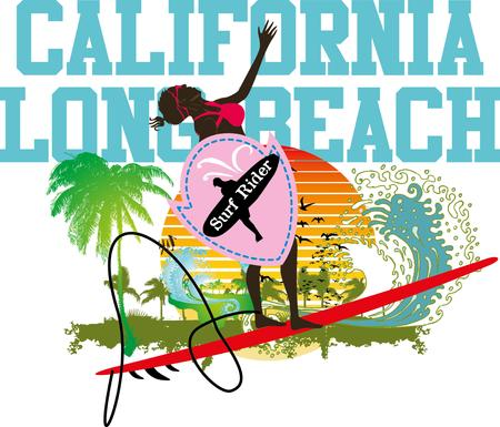 pacific ocean surfer girls vector art Vector