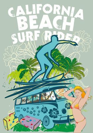surfer vector: palm beach surfer vector art Illustration