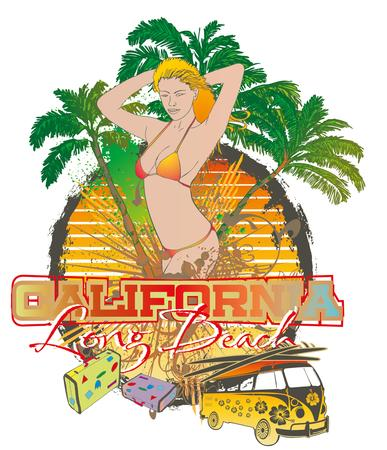 palm beach surfer girls vector art