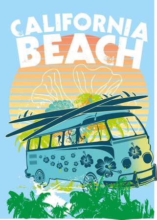 surfboard fin: palm beach van vector art
