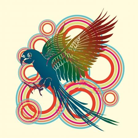 parrot palm beach vector art Vector