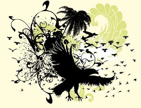 palm beach and birds vector art Vector