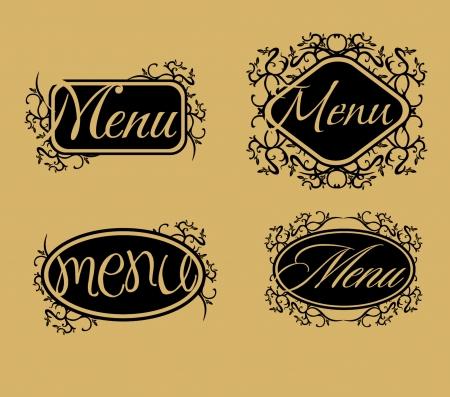 vintage retro menu line vector art Vector