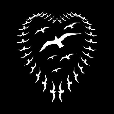 flocking: black background birds life vector art Illustration
