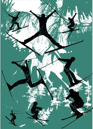 sport invernali: skier sport invernali freestyler illustrazione arte
