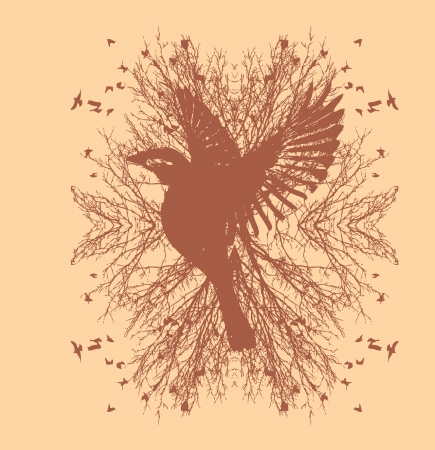 black background birds life vector art Vector