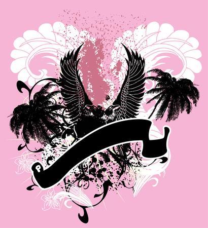 palm wreath: palm beach and birds vector art