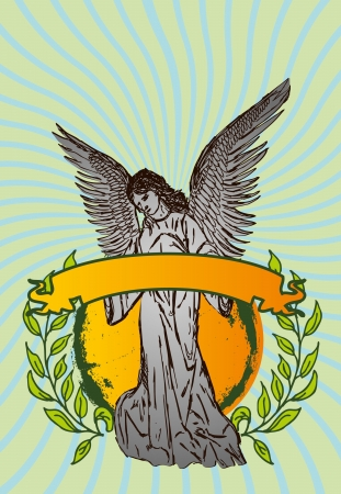 angel cemetery: statue wings birds and maria vector art