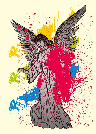 statue wings birds and maria vector art Vector
