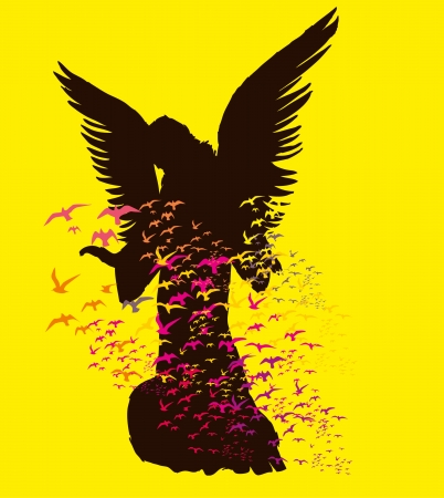 statue wings birds and maria vector art Vector