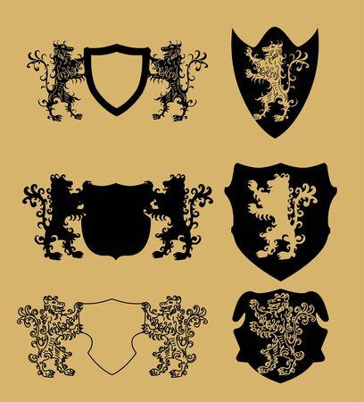 lion team shield vector art Illustration