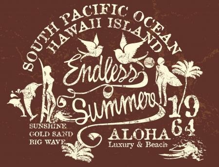 surfeur: Endless Summer rétro vecteur de style art