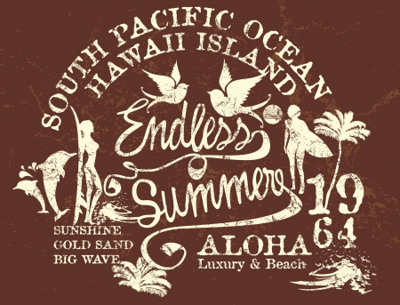 endless summer retro style vector art Vector