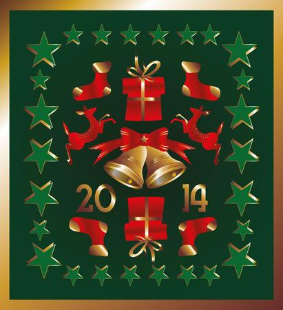 gold and green xmas  icon vector art Vector