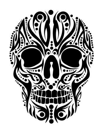 illustrazione sole: tatuaggio tribale del cranio vettoriale arte Vettoriali