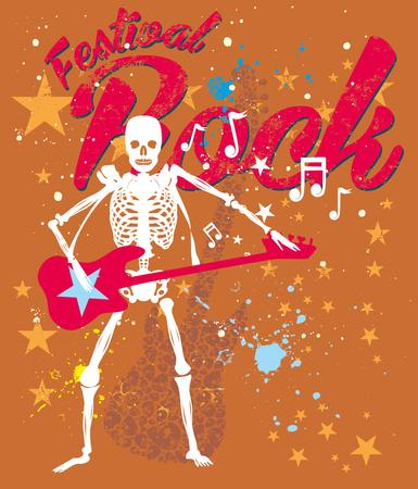skeleton disco music retro style vector art Vector