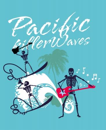 south pacific rock music skeleton surfer vector art Vector