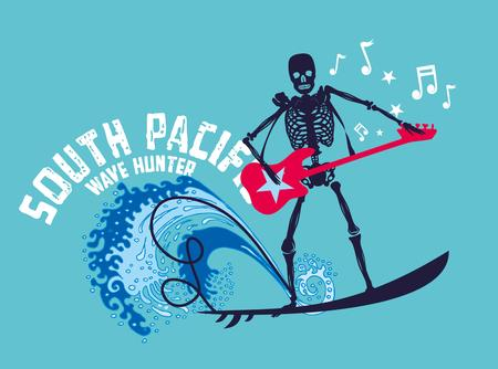 surf team: rock skeleton art surfer sur del Pac�fico