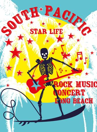 south pacific rock music skeleton surfer vector art Vector
