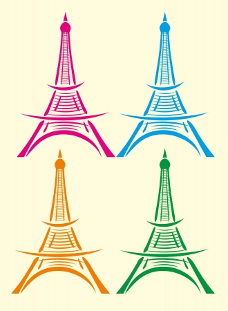paris eiffel tower vector art Illustration