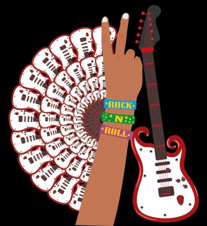 hand up guitar vector art Vector
