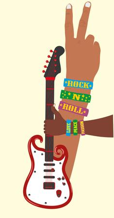 accords: hand up guitar vector art