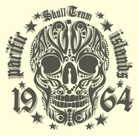 skull tattoo: tattoo tribal skull vector kunst