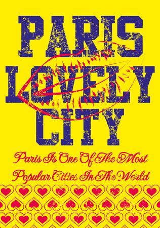 paris city slogan vector art Vector