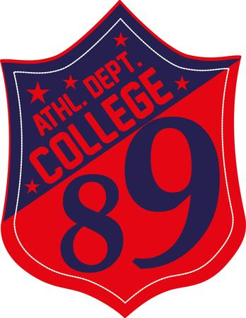 college sports badge vector art Vector