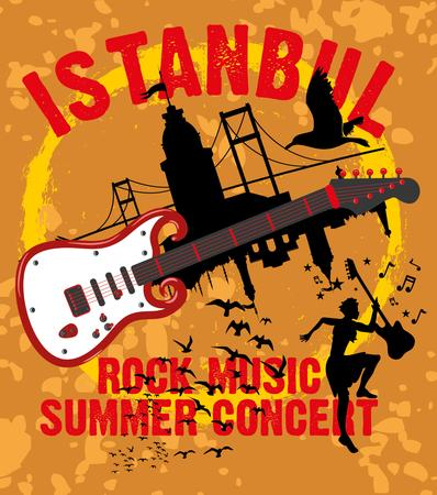 intertainment: istanbul rock music summer concert vector art Illustration