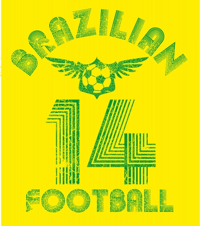 brazilian football retro style vector art Фото со стока - 23303152