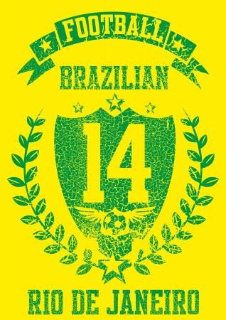 brazilian football retro style vector art Stock Vector - 23303153
