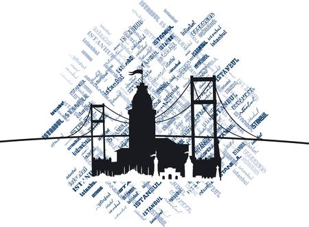bosporus: istanbul big city vector art