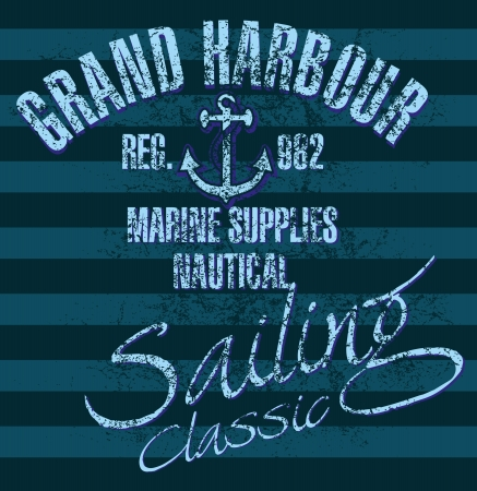 yacht club anchor badge vector art Illustration