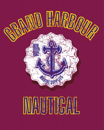 yacht club anchor badge vector art Vector