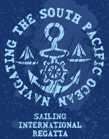 navy pier: yacht club anchor badge vector art Illustration