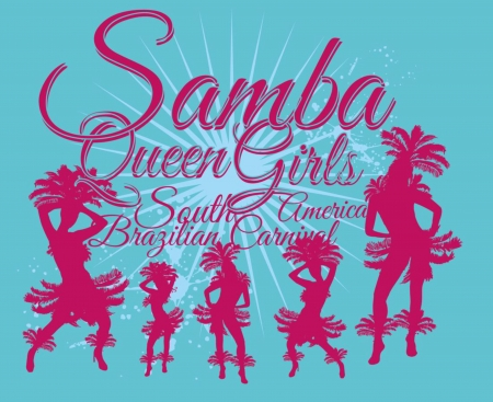 samba dance girls vector art