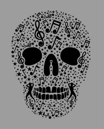 music skull and guitar vector art Vector