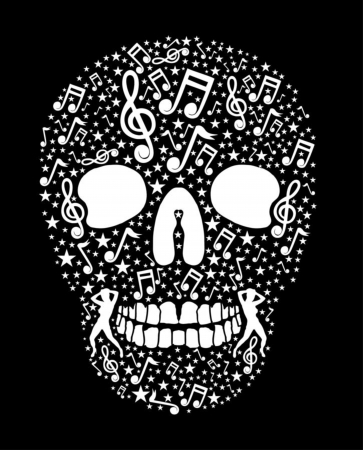 music skull and guitar vector art