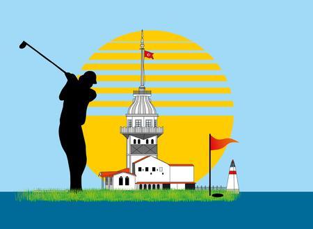 summer sports golf player  Vector